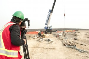 Filming the construction of the water treatment site